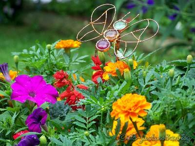 mixed container of annuals with copper butterfly