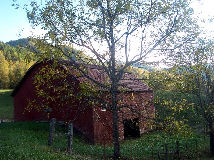 local fall color and red barn