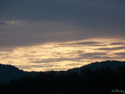 twilight sky over Great  Smoky Mtns