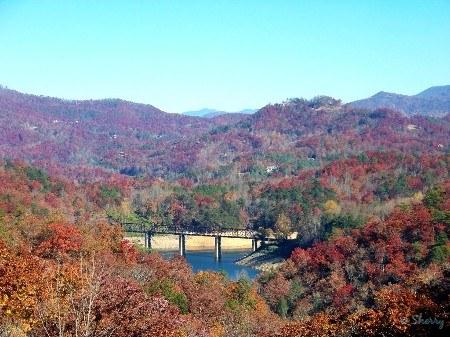 railroad trestle and lake