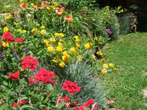 rock wall flower bed
