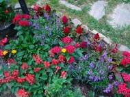 small lamp post flower bed
