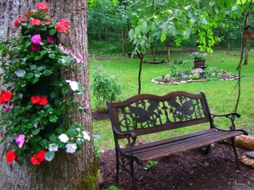 bench in secret garden