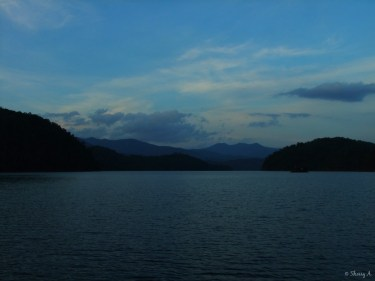 lake and mtns at dark