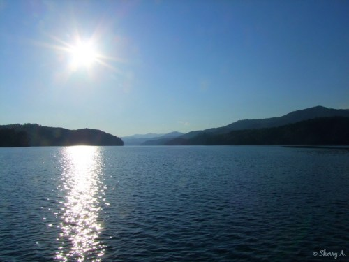 sun, Smoky Mountains and water