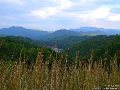 great smokies and railroad trestle over lake