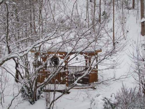gazebo in snowy woods