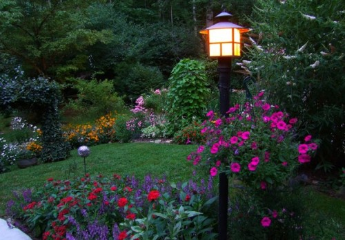 lamp post and front flower beds