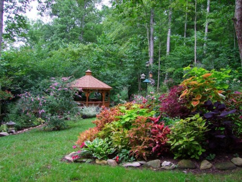 coleus bed and gazebo