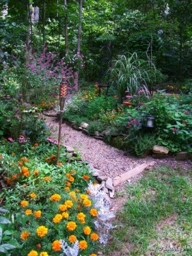 flower beds and path