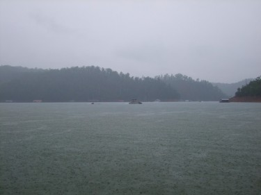 rainy day on the lake