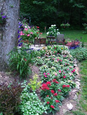 flower border below patio