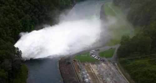 Fontana Dam spilling