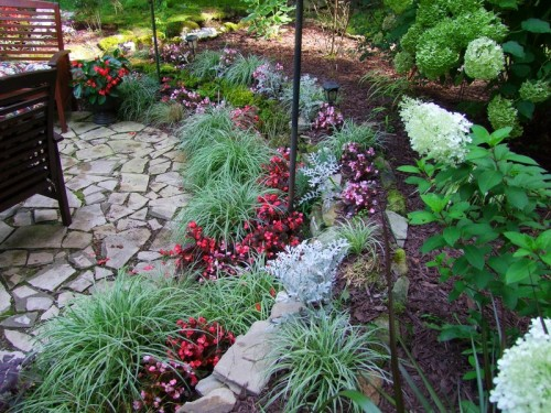 patio and flower beds